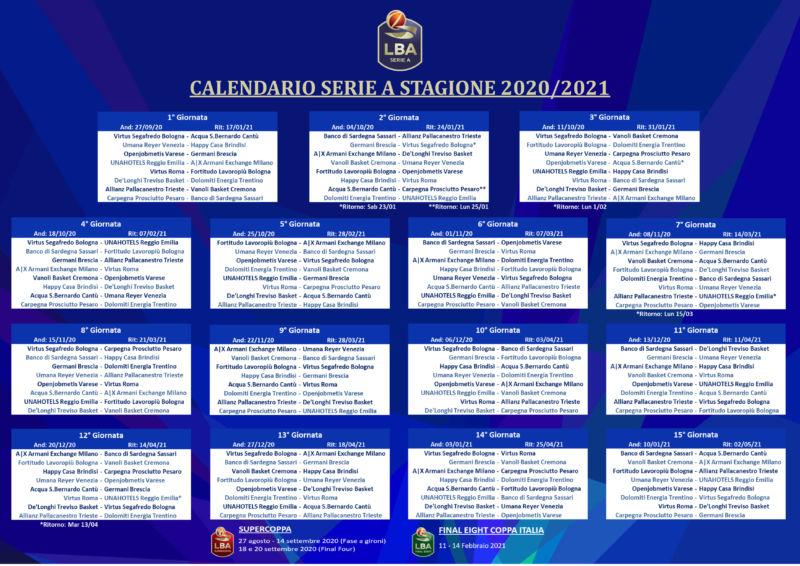 Calendario LBA stagione 2020/2021   MegaBasket
